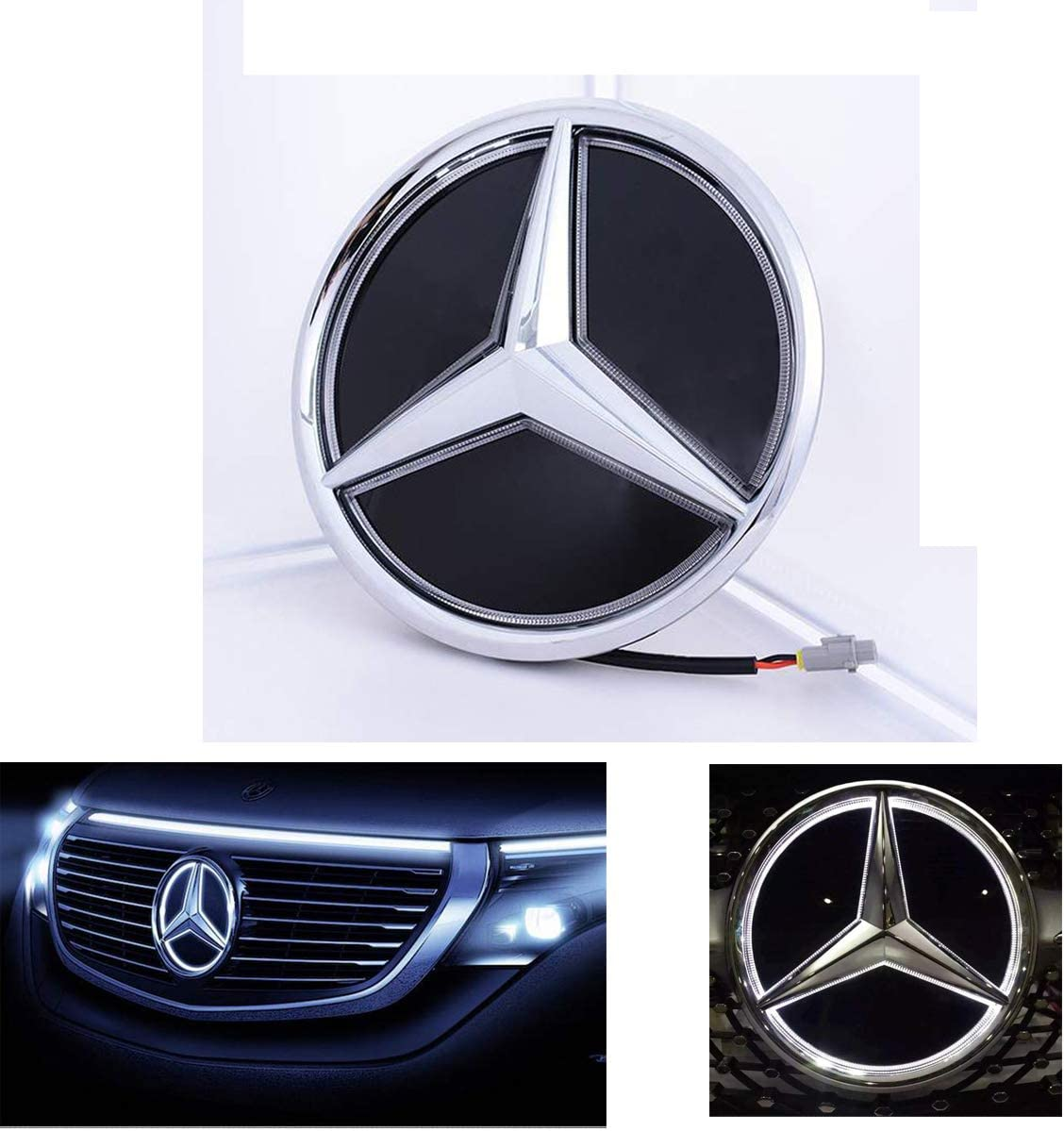 Twist Silver Coolsport Fit Benz Grill Emblem White LED Emblem Logo Mirror Surface Grille Badge Front Light for A//B//C//CLS//E//GLK//GL//R Series