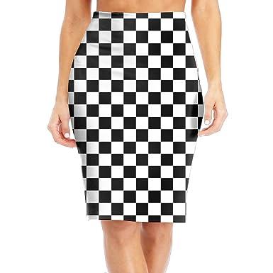Amazon Com Cawhjdw White Black Checkered Womens High Waist Bodycon