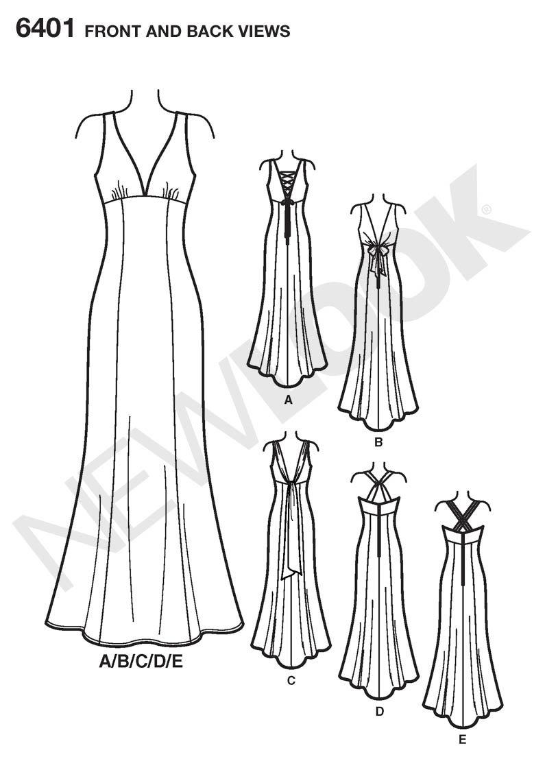 Simplicity New Look patrones de costura para vestidos de fiesta de ...