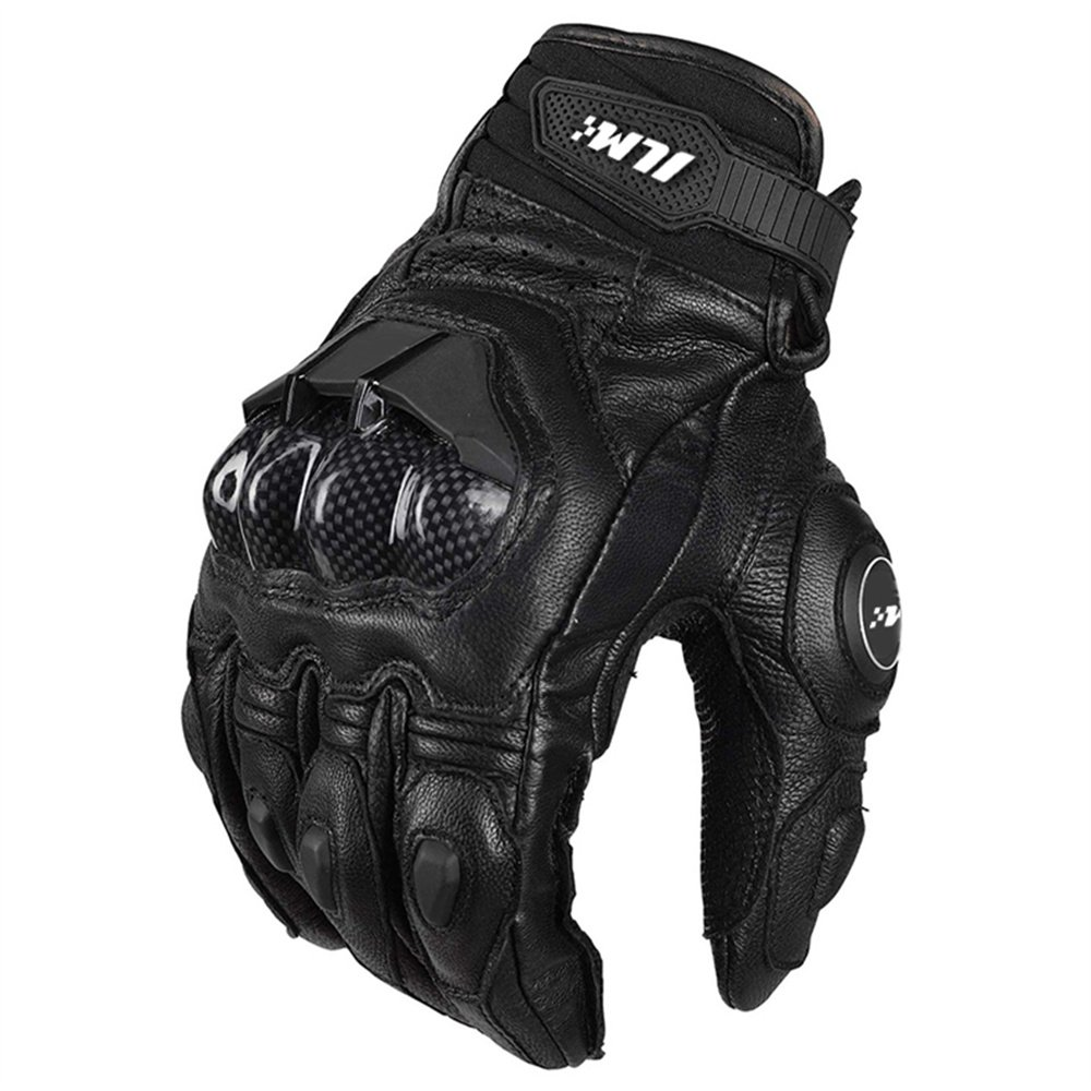 ILM Air Flow Leather Motorcycle Gloves For Men and Women (XL, BLACK)