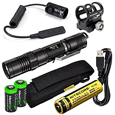 Nitecore MH12 1000 Lumens high intensity CREE XM-L2 LED long throw tactical flashlight, 18650 rechargeable Li-ion battery, USB charging cable, Holster, RSW1 Pressure Switch and GM02 Weapon Mount with 2X EdisonBright CR123A Lithium Batteries bundle