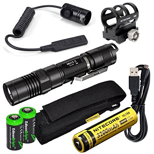 Nitecore MH12 1000 Lumens high intensity CREE XM-L2 LED long throw tactical flashlight, 18650 rechargeable Li-ion battery, USB charging cable, Holster, RSW1 Pressure Switch and GM02 Weapon Mount with 2X EdisonBright CR123A Lithium Batteries bundle (Led Flashlight Mh2c)