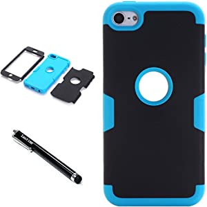 iPod Touch 6th Generation Case,iPod Touch 5 Case,Lantier 3 Layers Verge Hybrid Soft Silicone Hard PC Plastic TUFF Triple Quakeproof Drop Resistance Protective Case Cover with Stylus Palm Black/Blue