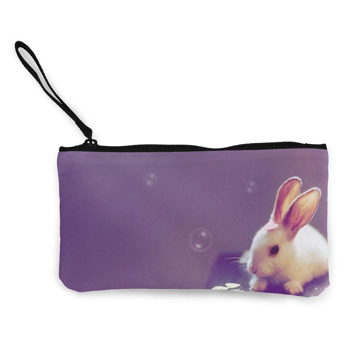DH14hjsdDEE Purple Zipper Canvas Coin Purse Wallet Cellphone Bag With Handle Make Up Bag