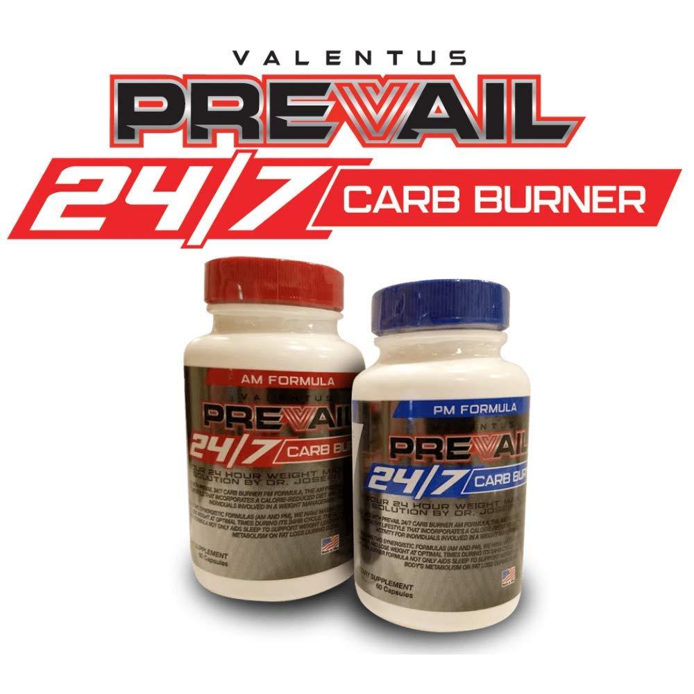 Valentus Prevail 24/7 AM and PM Carb Burner - 60 Capsules per Bottle (120 Capsules Total)