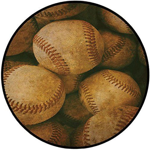 Printing Round Rug,Vintage,Vintage Baseball Backgorund American Sports Theme Nostalgic Leather Retro Balls Artwork Mat Non-Slip Soft Entrance Mat Door Floor Rug Area Rug For Chair Living Room,Brown