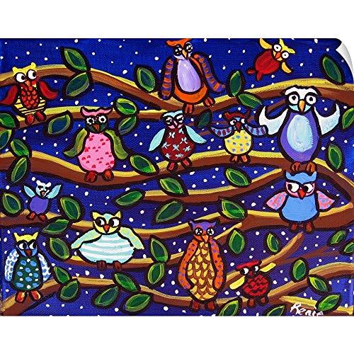 Whimsical Fun Folk Art - CANVAS ON DEMAND Tree Full of Owls Folk Art Wall Peel Art Print, 36