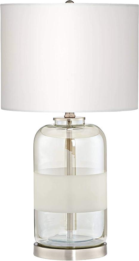 Kathy Ireland Moderne Sandblast Texture Glass Table Lamp