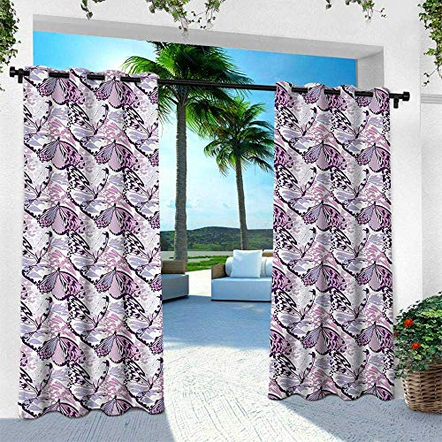 Butterfly, for Front Porch Covered Patio Gazebo Dock Beach Home,Artistic Wings in The Shades of Purple with Spotty Grunge Camo Style, W84 x L84 Inch, Lavender Lilac Violet ()