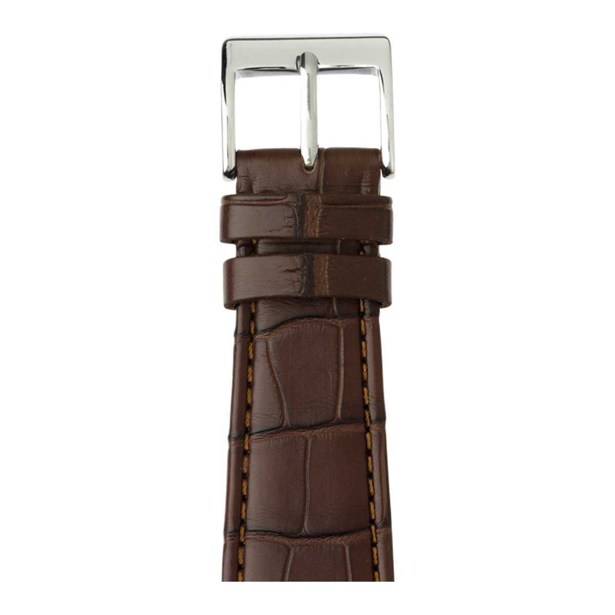 Roobaya   Premium Alligator Leather Apple Watch Band in Dark Brown   Includes Adapters matching the Color of the Apple Watch, Case Color:Stainless Steel, Size:42 mm