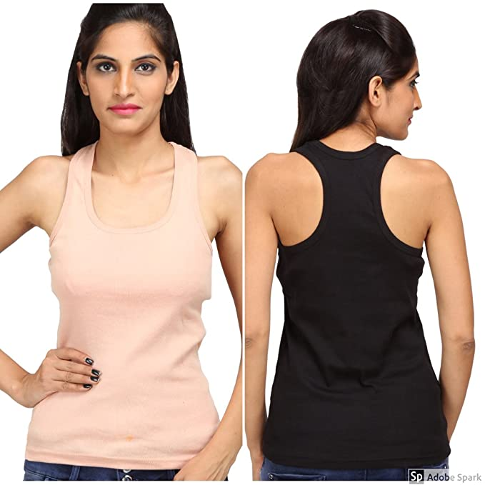 b875833984f410 ... Cotton T Back Ladies Plain Spaghetti Tank Top Vest Camisole Sando for  Women Combo of 2 Black and Skin (Free Size)  Amazon.in  Clothing    Accessories