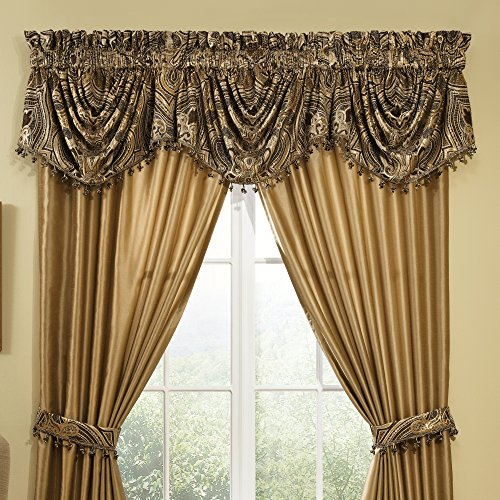 Veratex Maison Del Rey Collection Contemporary Style Polyester Bedroom Swag Window Valance Curtain, Black and Gold