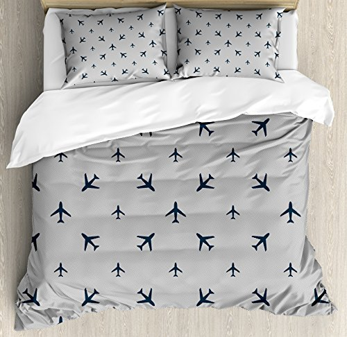 Ambesonne Airplane Duvet Cover Set, Diagonal Stripes with Blue Travel Silhouettes Vacation Aviation, Decorative 3 Piece Bedding Set with 2 Pillow Shams, Queen Size, Petrol Blue