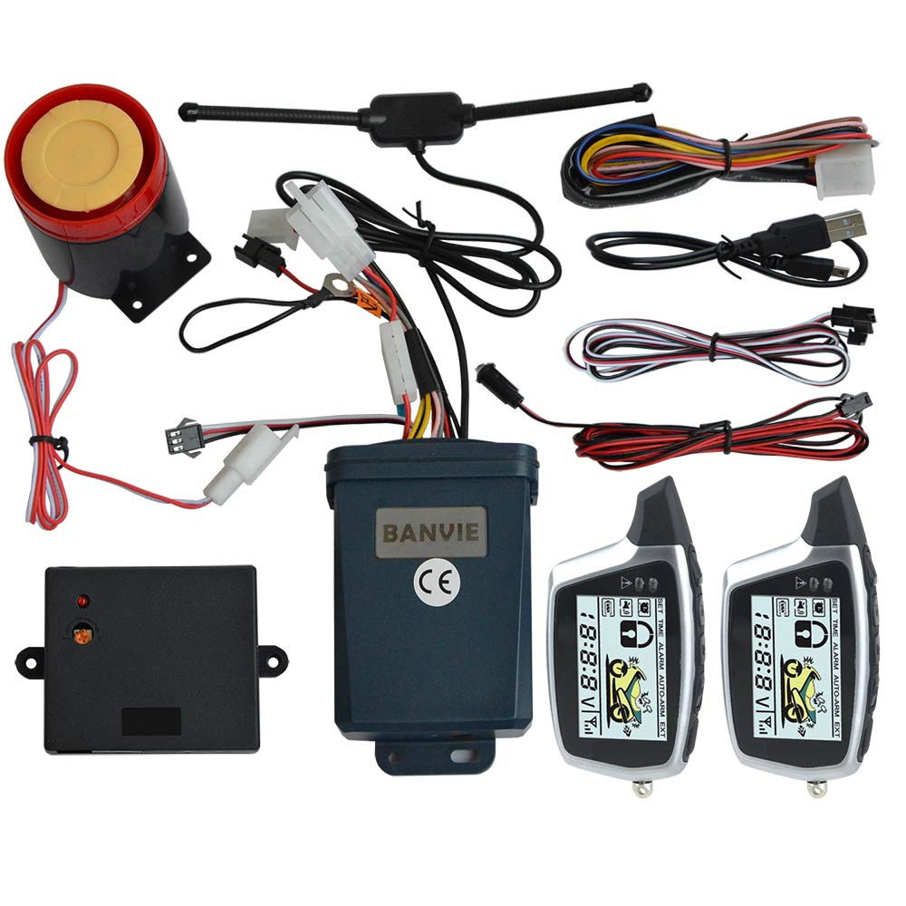 BANVIE 2 Way Motorcycle Security Alarm System with Remote Engine Start Anti-Hijacking(100% Original OEM from SPY Motorcycle Alarm Factory)