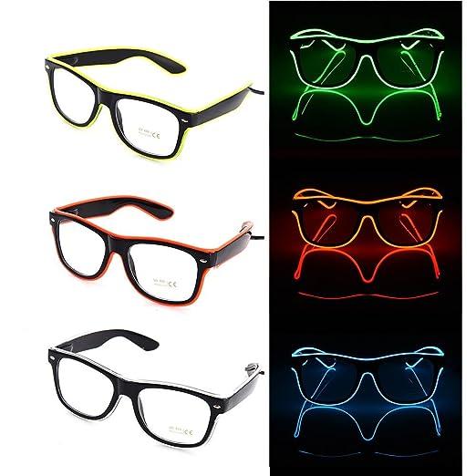 Welltobuy Luminoso LED Gafas EL Alambre Moda Neon LED Gafas de luz ...