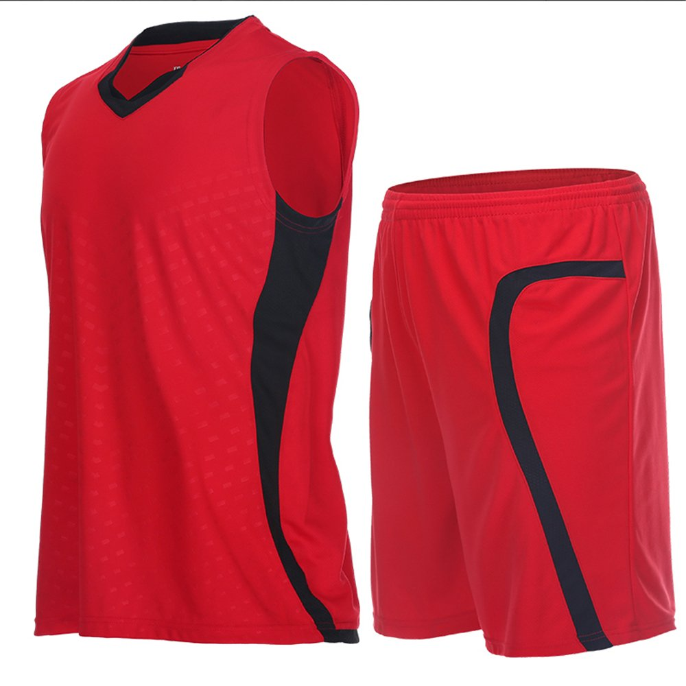Vansydical Men's Jersey Sportswear Running Sports Sets Basketball Summer Shirts Quick Dry Shorts LQF003) LQF003S