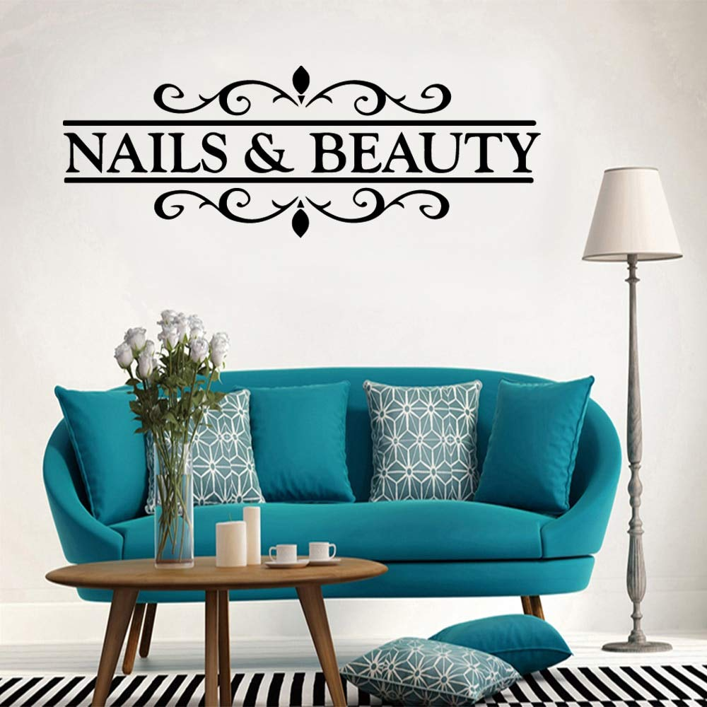 Ajcwhml Calcomanía de Vinilo DIY Nail Beauty Etiqueta de la Pared Estudio de uñas Decoración extraíble Sticker 30X83CM: Amazon.es: Hogar