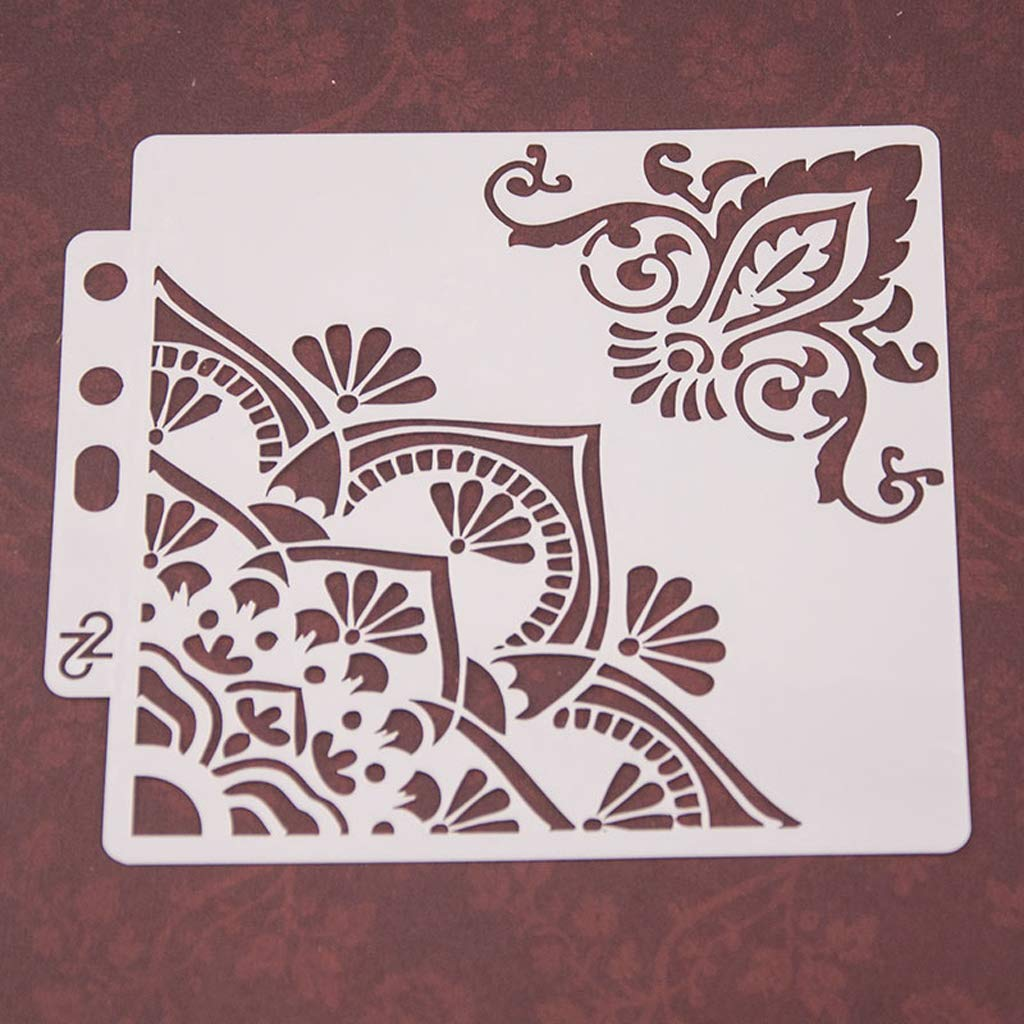 tarjeta de /álbum estampado Haven Shop Plantillas de bricolaje /álbumes de recortes plantilla de pintura plantillas de esquina de flores