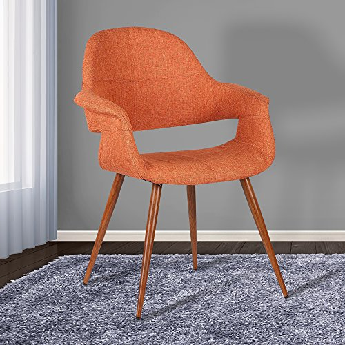 Armen Living Phoebe Dining Chair in Orange Fabric and Walnut Wood Finish