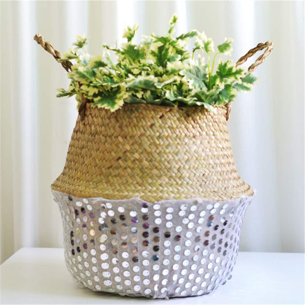 Seagrass Wicker Flower Basket Wall Hanging Sequin Handwoven Basket Folding Plant Pot Outdoor Indoor Decoration for Indoor Home Garden Wedding (White)