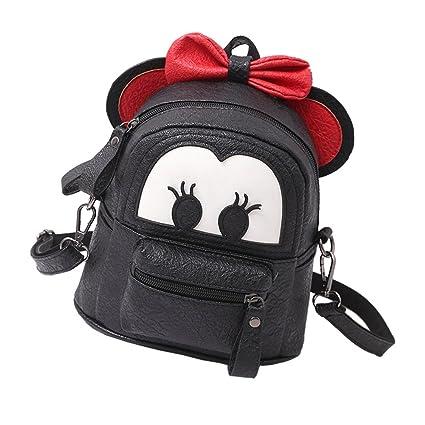 a7dcceaebd11 Amazon.com  Baby Toddler Kids Girl Cartoon PU Leather Mouse Ear Bow  Boutique Backpack Shoulder School Mini Bag Rucksack Bow Black  IBTOM CASTLE