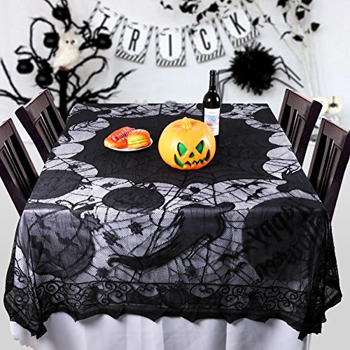 PartyTalk Spider Web Lace Tablecloth Rectangular 80 x 60 Inch Black Halloween Tablecloth Ghost Bat Pumpkin Gothic Halloween Party Home Decorations ()