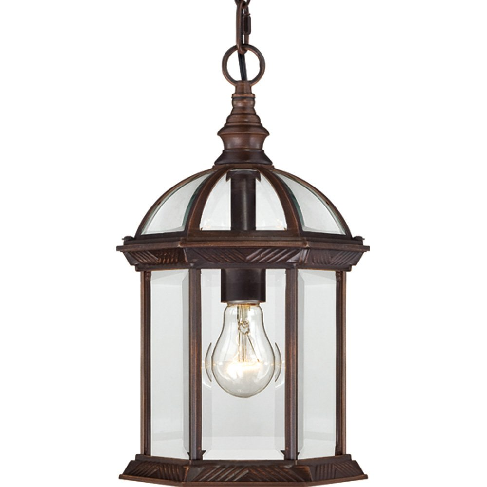 Nuvo Lighting 60/4978 Boxwood One Light Hanging Lantern 100 Watt A19 Max. Clear Beveled Glass Rustic Bronze Outdoor Fixture by Nuvo Lighting