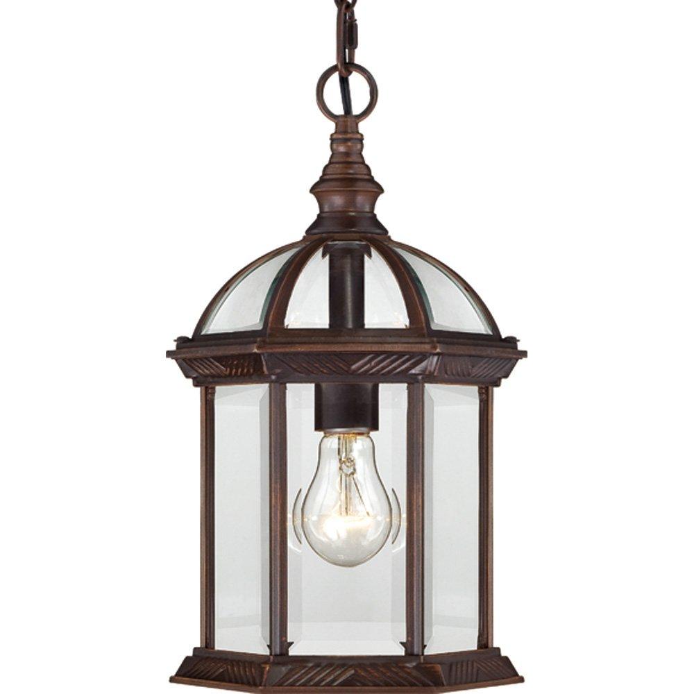 Nuvo Lighting 60/4978 Boxwood One Light Hanging Lantern 100 Watt A19 Max. Clear Beveled Glass Rustic Bronze Outdoor Fixture