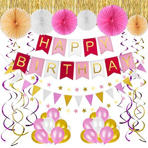 - Birthday Decorations and Party Supplies for Girls and First Birthday - Pink and Gold Happy Birthday Decorations by Reasion (Total 41 PCS)