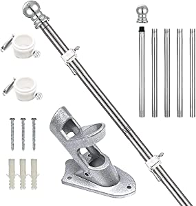Aobrodzo Flag Pole for House, 6 FT Flagpole Kit, Stainless Steel Flag Pole with Holder Mounting Bracket for Outside, Outdoor Flag Pole with 2 No-Tangle Ring Clips, Silver Flag Pole Kit