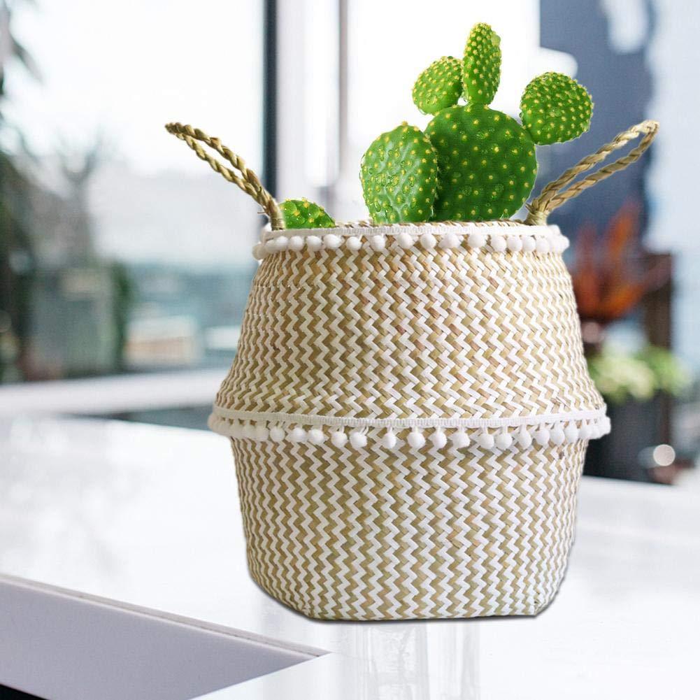 Panier /à Linge Pliable Naturel Grand Corbeille a Linge pour Pot de Fleur Plante D/écoration Maison(1pc) Nouveau Panier Osier Rangement Tress/é