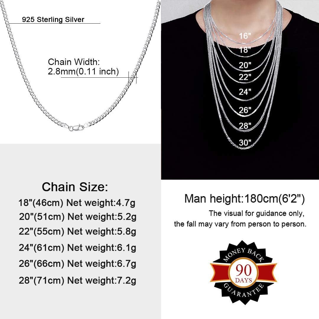 ChainsHouse Panzerkette Halskette Herren 925 Platin 3//5 mm breit gut verarbeitete Kubanische Halskette mit w/ählbare Kettel/änge 18-28