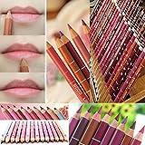 Aooher 11 Colors Lipliner Waterproof Lip Liner Pencil and 1 Color Eyeliner Makeup Set