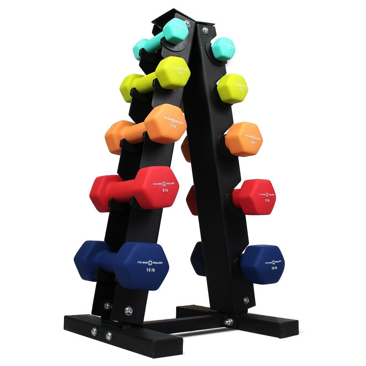 Fitness Republic Neoprene Dumbbells Pairs (2lb, 4lb, 6lb, 8lb, 10lb) with 5 Tier Rack