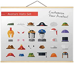 Isolated Flat Design Hats and Caps for Social Network Avatars - Illustration Pilot,P S Sherlock Holmes for Decor 12X8In