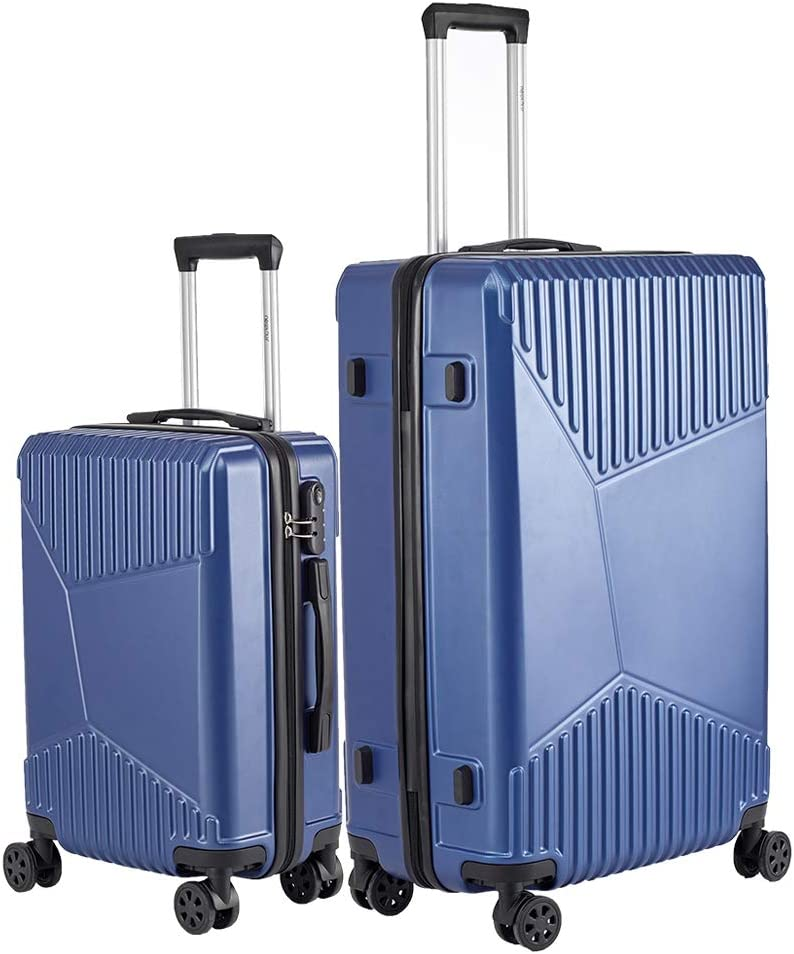 Newtour Luggage Sets 2 Pieces Suitcase with Spinner Wheels Hardshell Lightweight luggage Travel 20in 28in Blue