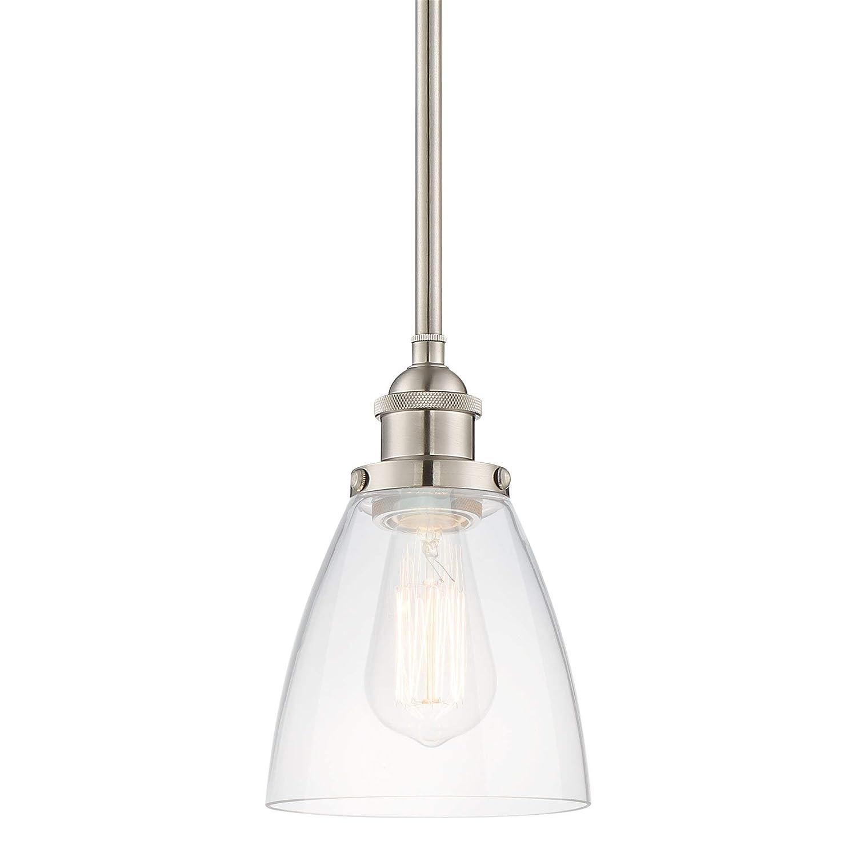 "Kira Home Porter 8"" Stem-Hung Industrial Pendant Light + Mini Glass Shade, Brushed Nickel Finish"