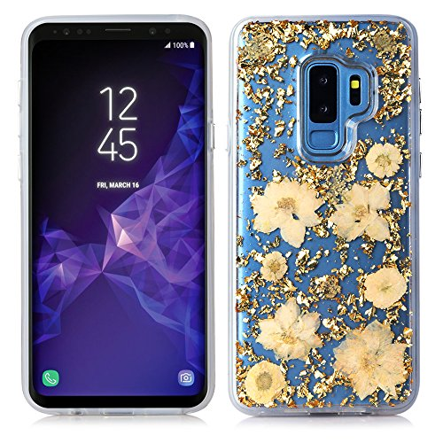 (Galaxy S9 Plus Case,HuiFlying Luxury Gold Foil Glitter Case - Made with Real Natural Flowers-Durable Shockproof TPU Frame and PC Back Protective Case for Samsung Galaxy S9 Plus (Gold Flower))