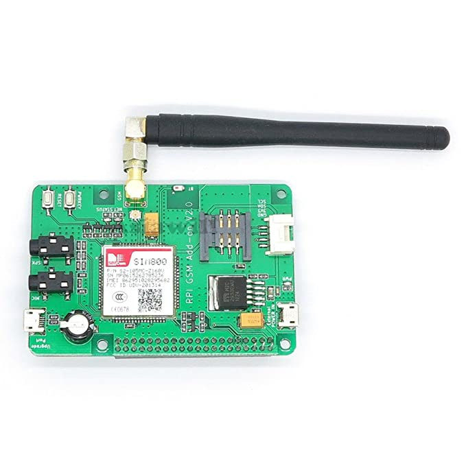 Asiawill SIM800 GSM GPRS Add-on V2 0 Module Shield for Raspberry PI  Customized for Raspberry Pi Interface Based on SIM800 Quad-Band GSM/GPRS/BT  Module
