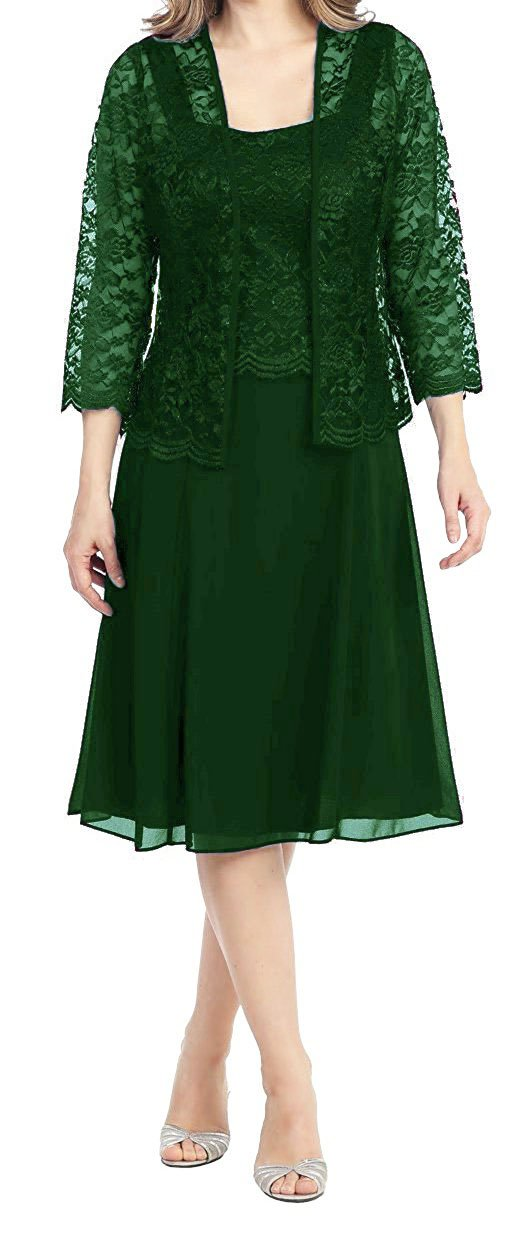 Deep green Womens Short Mother of the Bride Plus Size Formal Lace Dress with Jacket Dark Purple US28