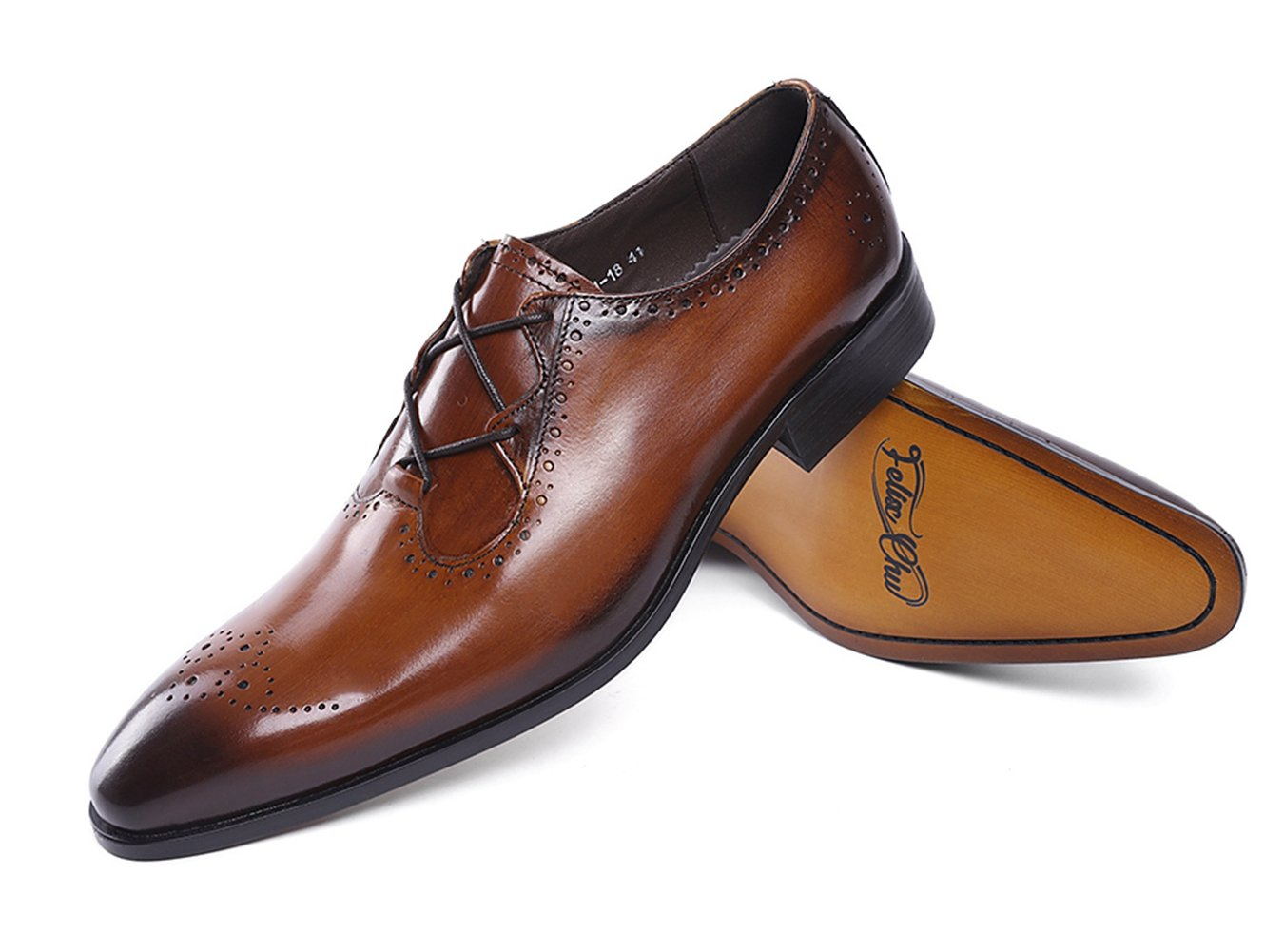 Felix Chu Men's Italian Designer Luxury Perfect Genuine Calf Leather shoes, Brown, 9 D(M) US by Felix Chu (Image #4)