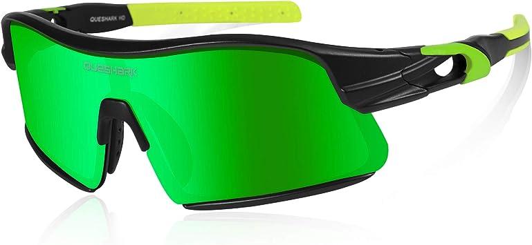 Queshark Polarizadas Gafas de sol Deportivas con 4 Lentes Intercambiables para Hombres Mujeres Ciclismo Correr Conducir Pesca Golf Gafas de béisbol QE0049: Amazon.es: Deportes y aire libre