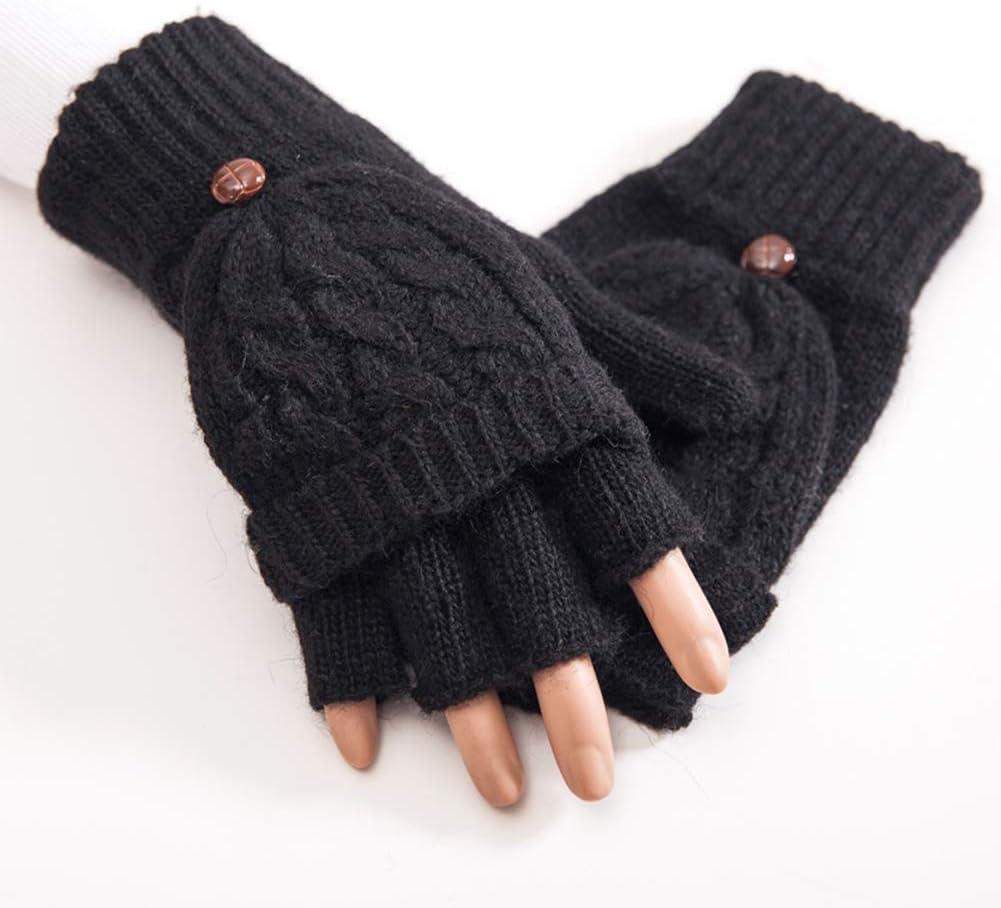 Pixnor Winter Warm Fingerless Gloves with Fold Back Pocket Hand Warmer Half Finger Flip Wool Knitted Mittens for Women Girls Ladies