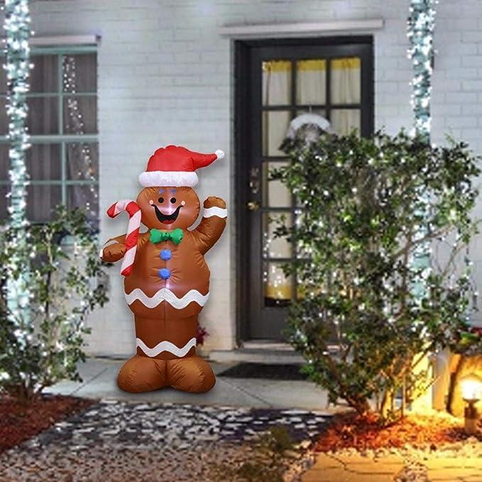 Decoración Inflable De Navidad De Santa Papa Noel Luces LED Tela ...