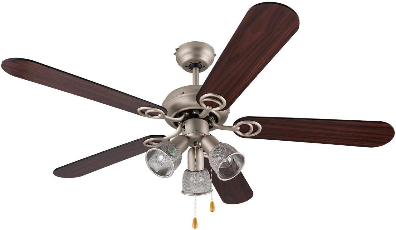 Klarstein Charleston 2020 Edition - Ventilador de Techo, Lámpara de 3 Brazos integrada, 60W Potencia, 3 velocidades, Giro en 2 sentidos, 5 aspas de Madera, Acero Inoxidable, Nogal