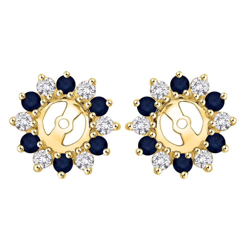 KATARINA Alternating Diamond with Sapphire Earring Jackets in 14K Yellow Gold (5/8 cttw) (Color IJ, Clarity I1)