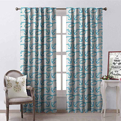 (Gloria Johnson Anchor 99% Blackout Curtains Little Anchors with Chains Naval Loops Sailing Theme Cartoon Style Ocean Travel for Bedroom- Kindergarten- Living Room W42 x L90 Inch Pale Blue White)