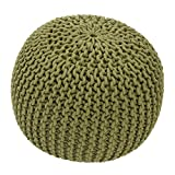 Jaipur Solid Pattern Green Cotton Pouf, 20-Inch x 20-Inch x 14-Inch, Fern Spectrum