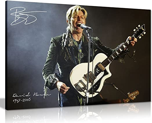 David Bowie Guitar Signature Canvas Wall Art Picture Print 36x24in