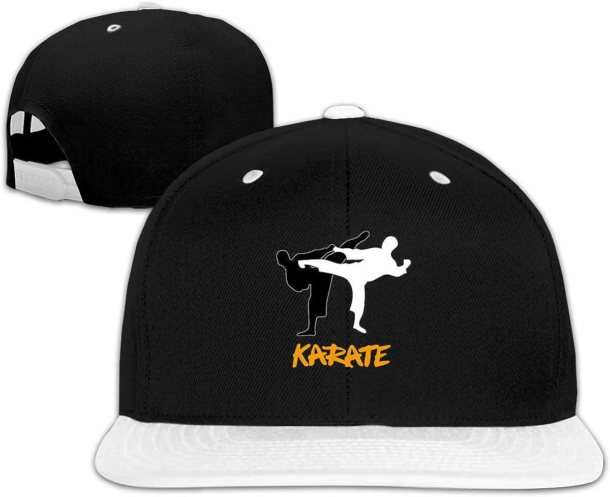 XinT Black White Karate Unisex Solid Flat Bill Hip Hop Adjustable Snapback Hats Sunhat